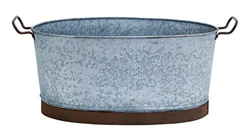 Deco 79 Metal Galvanized Oval Tub with Crepe Design and Metallic Handles
