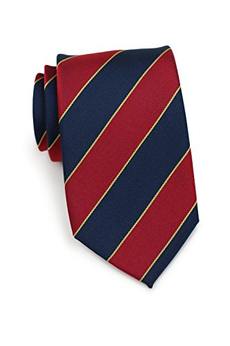 - Bows-N-Ties Men's Necktie British Regimental Striped Silk Matte Tie 3.25 Inches (Navy, Crimson, Gold)