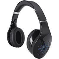 SuperSonic IQ-125BT BLACK Iq-125 Bluetooth Stereo Headphones with Microphone & Auxiliary Input (Black)