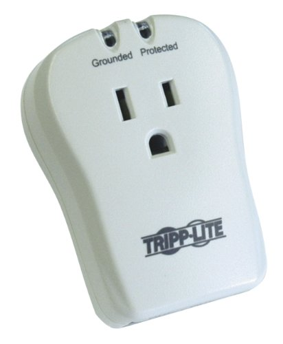 Tripp Lite 1 Outlet Portable Surge Protector Power Strip, Direct Plug In, Tel/Modem Protection, & $10,000 INSURANCE (TRAVELCUBE)