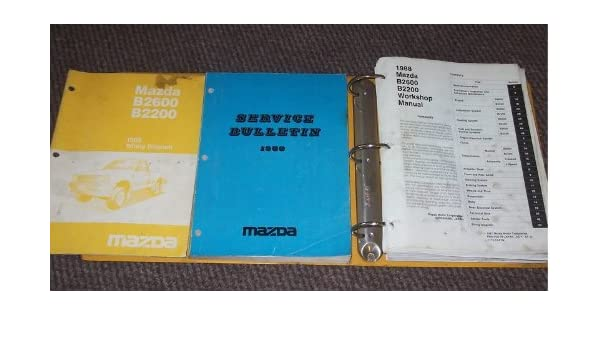 1988 mazda b2200 b2600 truck service shop manual set (service manual, wiring  diagrams manual,and the service bulletins manual ) paperback – 1988