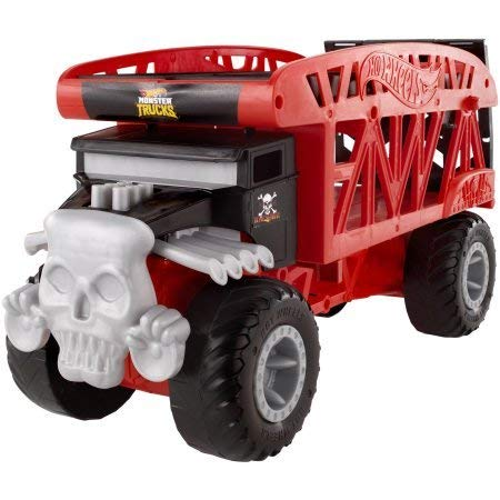 Unlock Storytelling and Imaginative Play with Cool,Fun and Exciting Hot Wheels Monster Truck Monster Mover,Large-Scale Transporter Stores up to 12 1:64 Scale Monster Trucks,Red/Black,Great Gift Idea