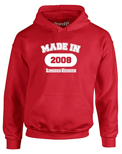 Made in 2008, Kids Hoodie - Fire Red/White 9-11 Years 2008 Kids Hoodie