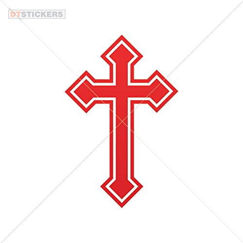 Religion Colors & Sizes Variations Decoration Vinyl Sticker Vinyl Christian Cross Symbol Vinyl Art Decoration Motorbike (8 X 5,25 in.) Red ()