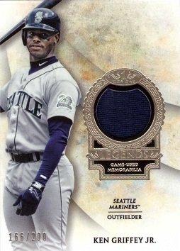 (2017 Topps Tier One Relics Legends #T1RL-KGJ Ken Griffey Jr. Game Worn Seattle Mariners Jersey Baseball Card - Dark Blue Jersey Swatch - Only 200 made!)