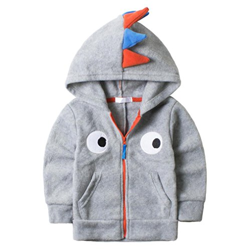HUAER& Baby Boys' Woolen Dinosaur Zip Front Jacket Hoodie Sweatshirt (2-3T(height85-95cm/33.15-37.05inch), Grey)]()