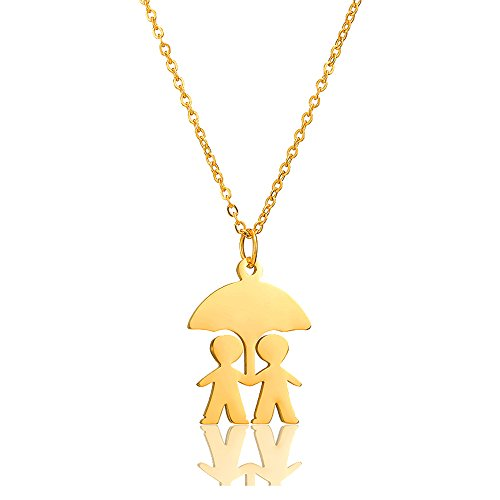 AOCHEE Mother's Necklace Two Kids Twins Family Pendant Necklace