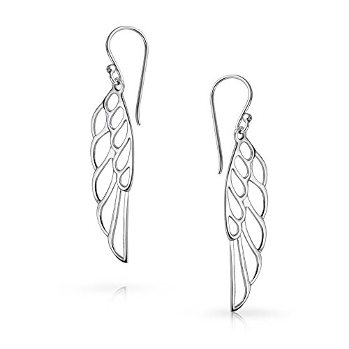 Spiritual Religious Angel Wing Feather Christmas Dangle Earrings For Women For Teen 925 Sterling Silver French Wire