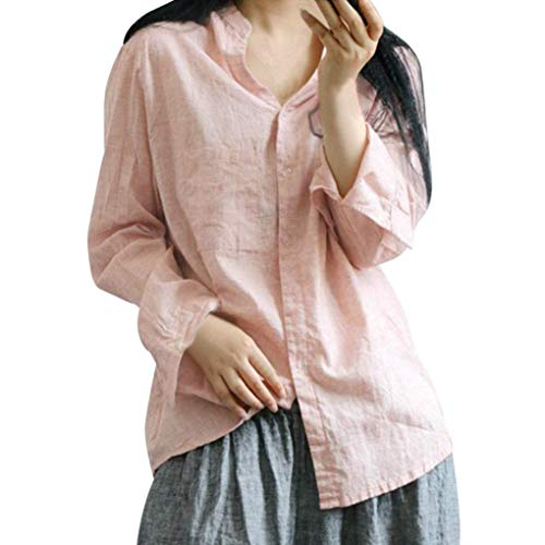 Corduroys Cotton Vintage (Womens Loose Shirts, NEARTIME Autumn Cotton Button Long Sleeve Tops Casual Baggy Daily Pocket Long Blouse)