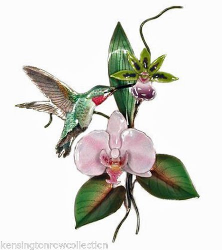 WALL ART - HUMMINGBIRD WITH ORCHID BLOSSOMS METAL WALL SCULPTURE - WALL DECOR -