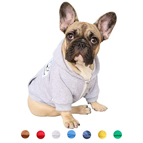 iChoue Pet Clothes Dog Hoodie Hooded Full-Zip Sweatshirt French Bulldog Frenchie Shiba Inu Cotton Winter Warm Coat Clothing - Grey/Size M