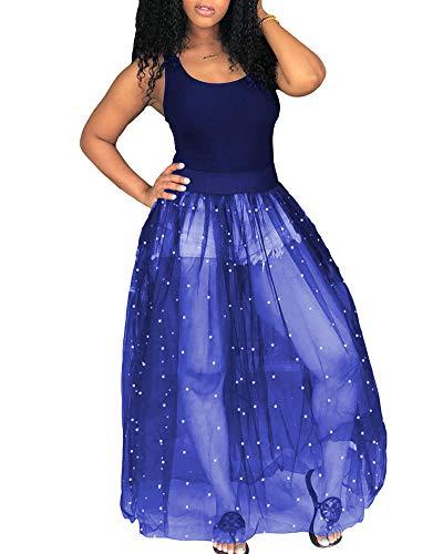 - Halfword Women's Sheer Mesh Maxi Dress - See Through Beading Pearls Sleeveless Tank Top Prom Dresses Blue
