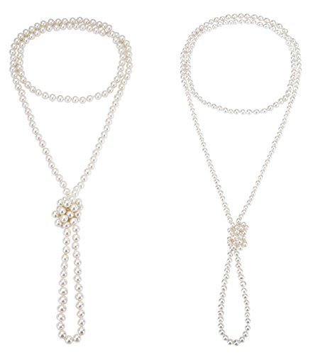 - Monily 2 Pcs 6mm 8mm 1920s Created-Pearl Necklace Flapper Beads Long Choker Necklace for Women 60 Inches