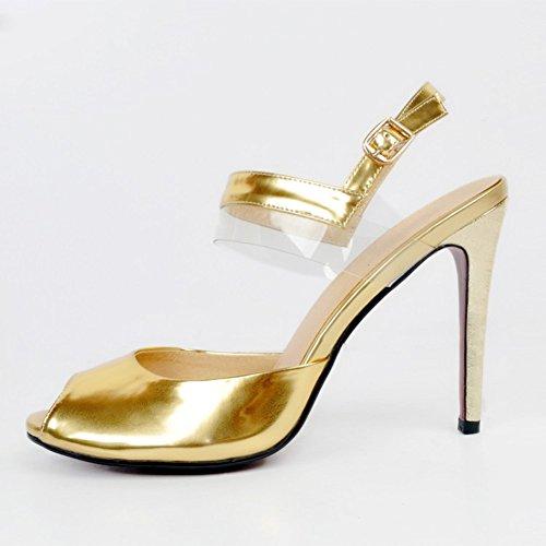 alto Scarpe Women Bracelet Anklet con Slingback Kolnoo tacco 11cm in Straps oro Handmade aw4ZZv