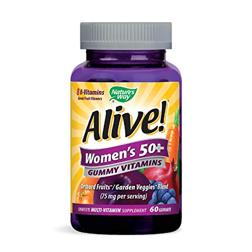 Nature's Way Alive!® Women's 50+ Multivitamin Gummies, Food-Based Blend (75mg per serving), Gluten Free, Made with Pectin, 60 Gummies