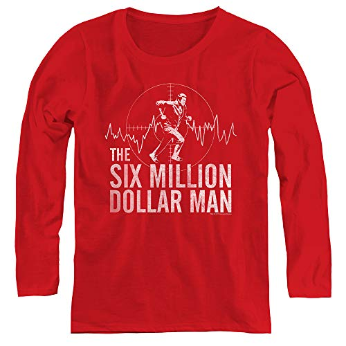 - Six Million Dollar Man Target Adult Long Sleeve T-Shirt for Women, X-Large Red