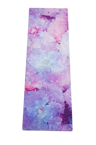 MALA Hybrid Premium Natural Rubber Yoga Mat Cherry Blossom with Microfiber Towel Surface - Sweat Absorbing for Hot Yoga, Bikram, Pilates, Vinyasa, Crossfit, Fitness and Other Workouts - Extra Long