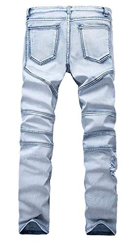 Skinny Fit Jeans Da Usati Stonewashed Uomo Hellblau Denim Pantaloni Regular WSYAqqn