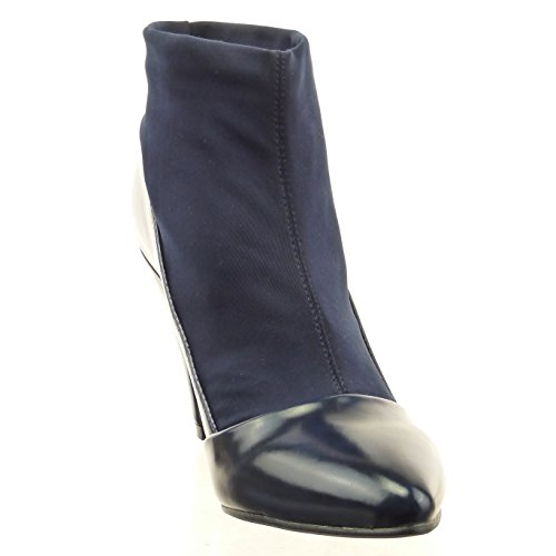 Sopily - Scarpe da Moda Stivaletti - Scarponcini flessibile donna lucide Tacco a blocco tacco alto 9 CM - Blu