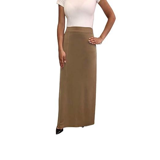 8f177c4afcb01 OrlyCollection Women s Basic Elastic Waist Band A-Line Long Maxi Skirt  (Mocha