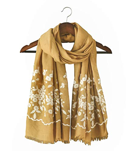 Lightweight Summer Scarf Embroidery for Women Solid Flower Printed Shawl Wraps Large