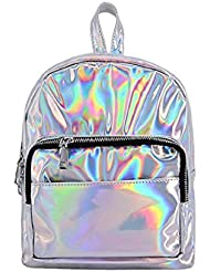 Orfila Silver Hologram Laser Backpack PU Leather Casual Daypack Fashion School Shoulder Bag Travel Satchel