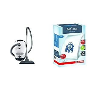 Miele Classic C1 Olympus Canister Vacuum Cleaner, Lotus White - Corded and Miele 10123210 AirClean 3D Efficiency Dust Bag, Type GN, 4 Bags & 2 Filters Bundle