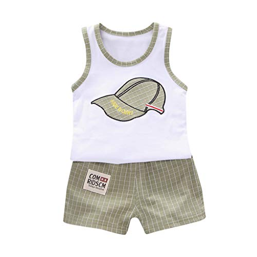 Luonita Toddler Kids Baby Boy Baseball Outfits Casual Cool Cartoon Sleeveless Vest Tank Tops Blouse +Grid Shorts Summer Clothes Suits Set for 6M-3T ()