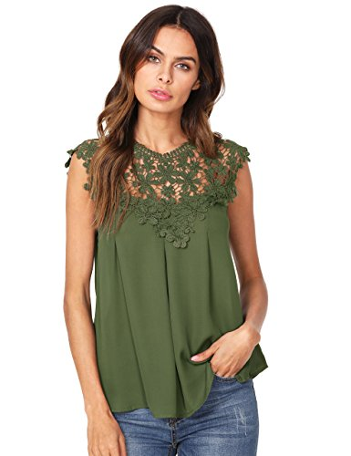 Floerns Women's Lace Neckline Sleeveless Chiffon Blouse Top Army Green (Chiffon Green)