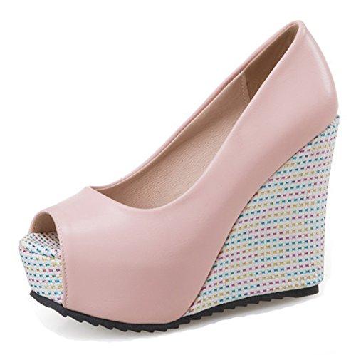 Aisun Donna Elegante Dressy Low Cut Slip On Scarpe Tacco Alto Sandali Con Zeppa Zeppa Tacco Alto Scarpe Rosa
