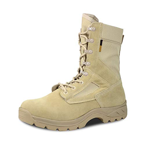 Ludey Men's 8 in Military Tactical Boots Combat Desert Boots Outdoor Water Resistant Boots IDS-658 Tan 10.5 US