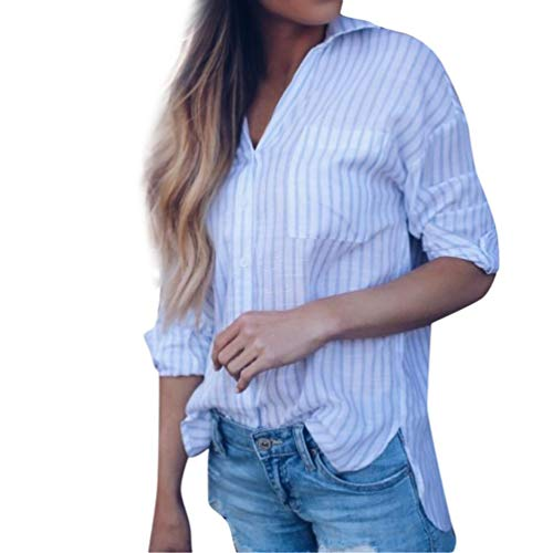 Bringbring Manches Blouse Ray Top Haut Bleu Femme Longues Chemise Chic irrgulier Oz4wI