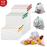 CTFT Reusable Produce Bags for Fruits and Veggies Set of 12,Three Sizes