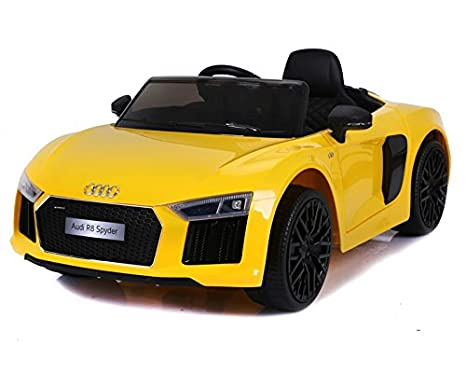 Getbest Audi R8 Spyder Double Motor 12v Battery Operated Ride On Car Yellow