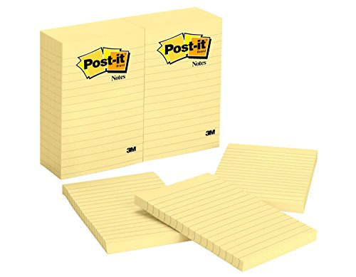 Post-it Notes, Americas #1 Favorite Sticky Note, 4 in x 6 in, Canary Yellow, Lined, 12 Pads/Pack, 100 Sheets/Pad (660)