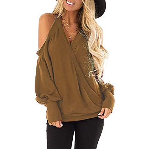 Kumike Fashion Women's Cold Shoulder Long Sleeve Deep V-Neck Wrap Front Loose Pullover Tops Blouse
