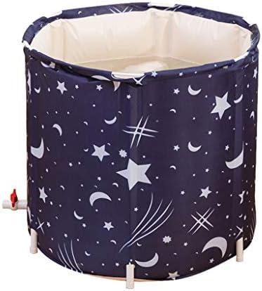 浴槽浴槽家庭用折りたたみ大人の浴槽大人の体厚肥厚浴槽断熱プラスチック洗面器便利な収納 (Color : BLUE, Size : 70*65CM)
