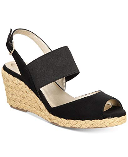 Bandolino Womens Himeka Open Toe Casual Espadrille Sandals, Black, Size 9.0