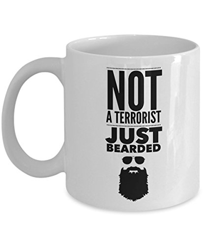 Beard Mug for Men - Not A Terrorist Just Bearded (White) ()