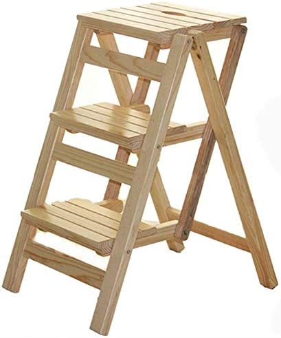 WGWJ Escalera Plegable Multifuncional, Silla de Escalera de Madera, Taburete de Tres peldaños, Escalera Interior para el hogar (Color: Color Madera): Amazon.es: Hogar