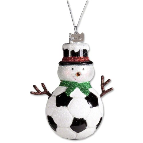 Kurt Adler Noble Gems Glass Soccer Snowman Ornament ()