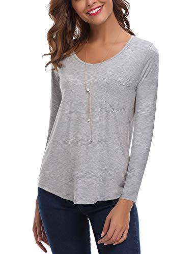 Col Gris1 iClosam Shirt Courte Shirt Dcontract Top Blouse Tee V Femme Manche Chemisier t wrxOP0prq