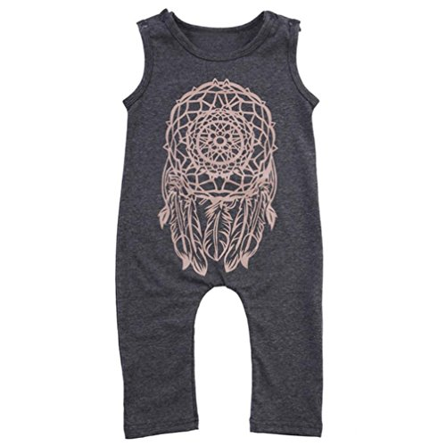 Toraway Summer Toddler Baby Boy Clothes Dreamcatcher Sleeveless Romper Jumpsuit Outfits (5T, Gray)