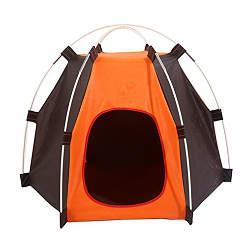WYKsoku Hexagon Rainproof Camping Pet Tent Folding Dog Cat House Cage Outdoors Accessory - Orange + Coffee