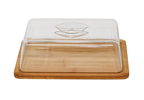 - Home-X - Bamboo Cutting & Cheese Board with Serving Tray & Clear Acrylic Cover, Cut, Serve and Store Cheese All on the Same Board with No Need for Plastic Wrap