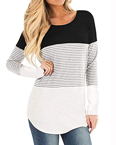 Womens Long Sleeve Blouse Varsity Striped Shirt Casual Round Neck Triple Colorblock Pullover Tops
