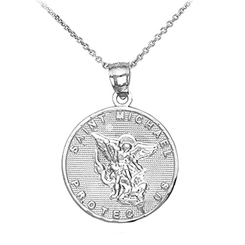(925 Sterling Silver Saint Michael Medal Protection Charm Pendant Necklace, 16