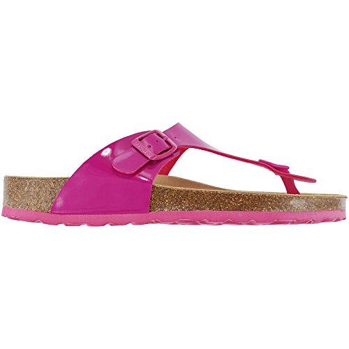 Geneve Toe Fuschia Sandals Post Patent Lacque Ladies Sanosan d4pqw7xz87