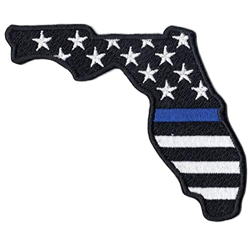 (State of Florida American Flag with Blue Line Police Support Logo Embroidered Iron On)