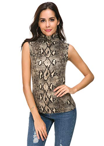 APRLL Women Sleeveless Mock Turtle Neck Knit Pullover Sweater Shirt Solid Blouse Tank ()
